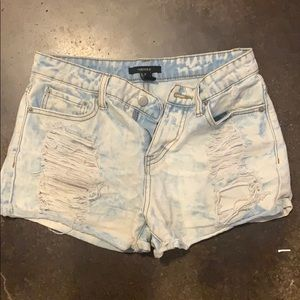Bleached distressed jean shorts